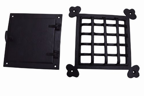A29 Hardware 8 1/2 x 8 1/2 Inch Cast Iron Speakeasy Door Grill/Grille with Viewing Door, Black Powder Coat Finish, Large Size