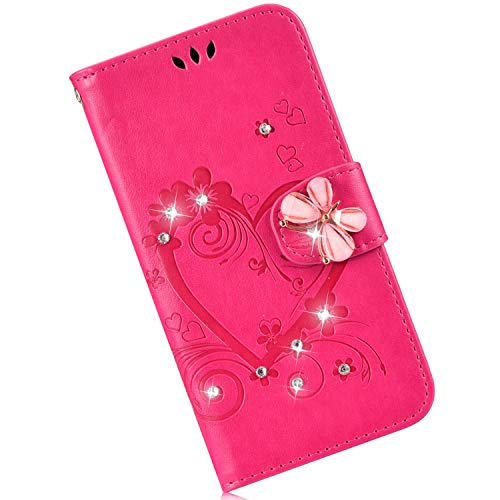 Price comparison product image Qjuegad Phone Case Compatible with Samsung Galaxy Note 10 Magnetic Folio Flip Wallet Case Cover Pouch with Card Holder Slots & Stand Feature Protective Cover for Samsung Galaxy Note 10- Rose Red