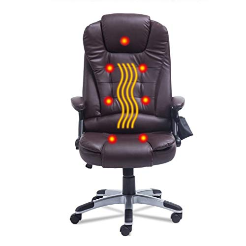 Nexttechnology Massage Chair 7 Point Vibrating 360 Degree Rotation Office Chair Home Leather Computer Chair Height Adjustable Exetutive Gaming Massage Chair (7 Point, Brown) brown chair gaming