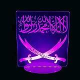 Jinson well 3D Islamischer Muhammad Lampe led Illusion Nachtlicht, 7 Farbwechsel Touch Switch Tisch Schreibtisch Dekoration Lampen mit Acryl ABS Base USB Kabel Spielzeug