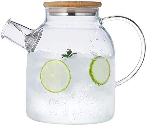 Jarra de cristal con tapa helada y asa de borosilicato, resistente al calor, para té, agua fría y caliente, vino, café, leche y jugo, jarra de borosilicato con S