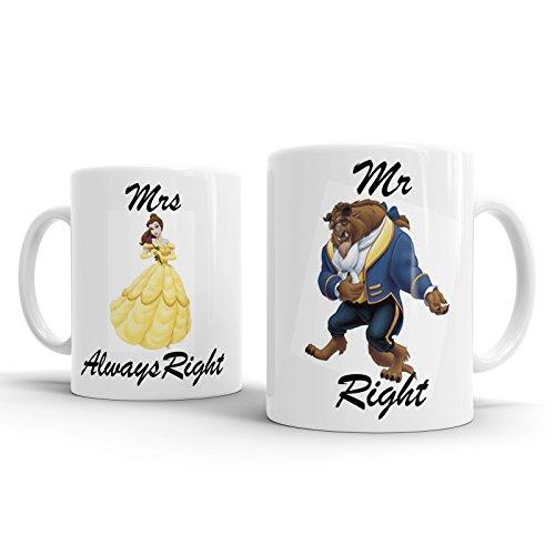Gift Original Tazza da tè a Tema La Bella e la Bestia, Idea Regalo per Fidanzamento e Matrimonio