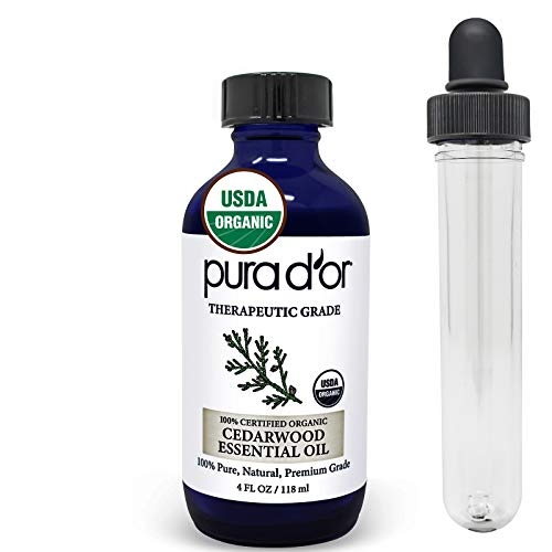 PURA D'OR Cedarwood Essential Oil (4oz) USDA Organic 100% Pure & Natural Therapeutic Grade Diffuser Oil For Aromatherapy, Relaxation, Healthy Looking Skin & Hair - Flea & Tick Control for Dogs