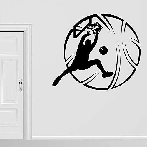 ASFGA Calcomanía de Pared Deportiva Jugador de Baloncesto Pelota Vinilo Ventana Vidrio Pegatina Estadio Baloncesto Sala Adolescente Chico Dormitorio Interior Jugador de la NBA 114x130 cm