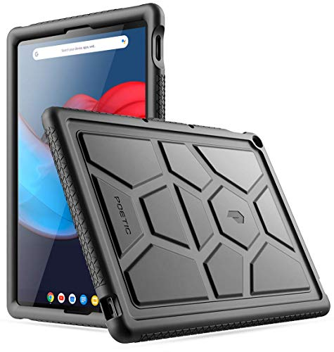 Poetic TurtleSkin Series Designed for Google Pixel Slate 12.3 Inch case, Heavy Duty Shockproof Kids Friendly Silicone Bumper Protective Case Cover, Black