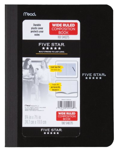 """Five Star Composition Book/Notebook, Wide Ruled Paper, 100 Sheets, 9-3/4"""" x 7-1/2"""", Color Selected For You, 1 Count (09006)"""