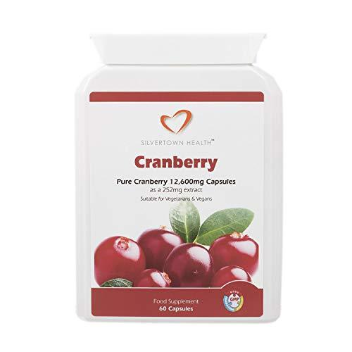 Cápsulas de arándano: extracto de arándano superior de gran eficacia equivalente a 12 600 mg de fruta entera por cápsula, 60 cápsulas