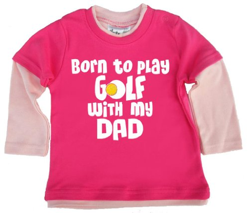 Dirty Fingers, Born to Play Golf with My Dad, Baby Skater Top - Rose - XS