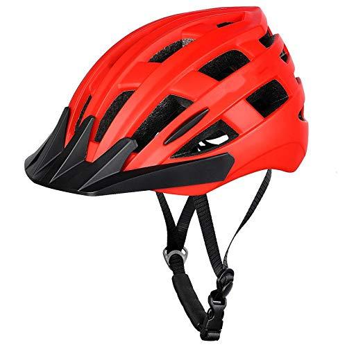 SFBBBO Casco Bicicleta Casco de Ciclismo Gorra de Seguridad Ajustable Ultraligera MTB Mountain Road Bicicleta Bicicleta eléctrica MTB Hombres Mujeres Casco M54-58cm Rojo