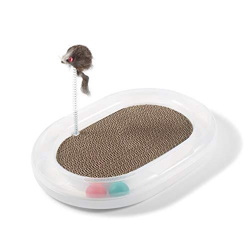 Supremery Katzenspielplatz mit austauschbarer Kratzpappe Katzenspielzeug Kratzmatte Kratzmöbel Katzen Kratzbrett aus Wellpappe - mit Spielball und Maus Spielzeug