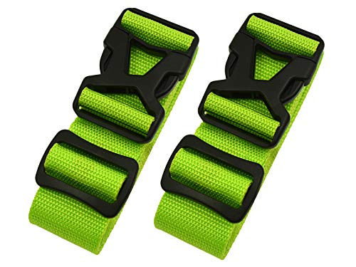 Luggage Straps - Adjustable Suitcase Packing Belts with Buckle Closure Travel Accessories by Riemot(3.8 * 200CM+3.8 * 230CM)Green
