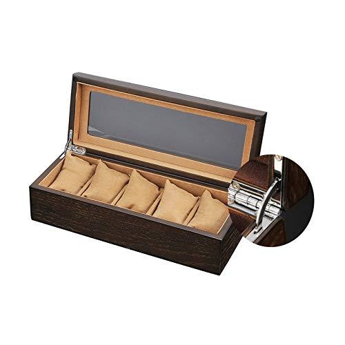 GYMEIJYG Caja De Almacenamiento De Reloj 5 Ranuras Caja De Reloj De Madera Caja De Reloj con Tapa De Vidrio Caja De Almacenamiento De Exhibición De Joyería para Guardar Relojes