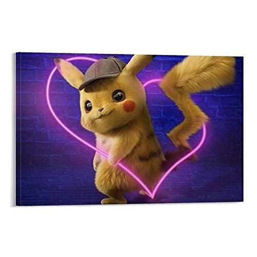 LINFENGAS Pokemon Detective Pikachu Decoración de la habitación Anime Poster Pintura decorativa Lienzo Arte de la pared Carteles de la sala de estar Pintura del dormitorio 30 x 45 cm