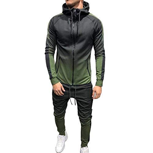 Herren Sportanzug Langarm Slim Zipper Fit Sportwear Set Hooded Mode Marken Sweatshirt Striped Jacket Pants Gradient Trainingsanzug Jogginganzug Freizeitanzug ( Color : Grün , Size : Eu S/Size L )