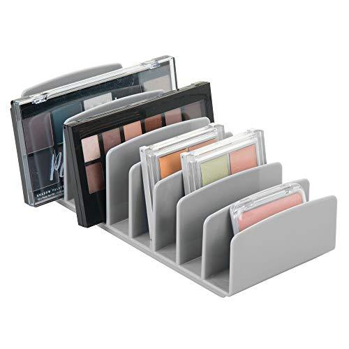 mDesign Organizador de cosméticos de plástico – Bandeja de maquillaje con 9 compartimentos verticales – Organizador de maquillaje para lavabo, tocador o armario – gris