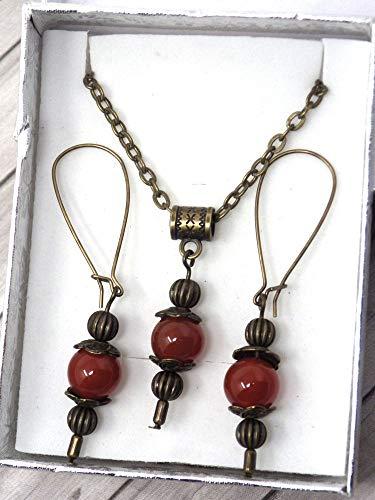 Conjunto de joyas de collar y pendientes estilo vintage para mujer en cornalina roja