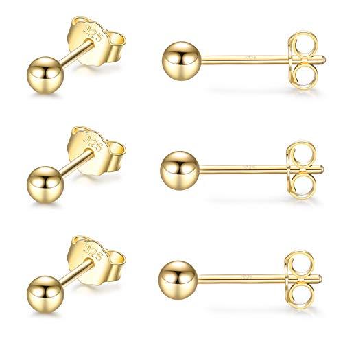 Sterling Silver Stud Earrings for Women Girls Men- 3 Pairs 3mm Tiny Ball Stud Earrings Round CZ Earrings Pearl Earrings Set Cartilage Small Tragus Earrings (3 Pairs-Round Ball Earrings(Gold))