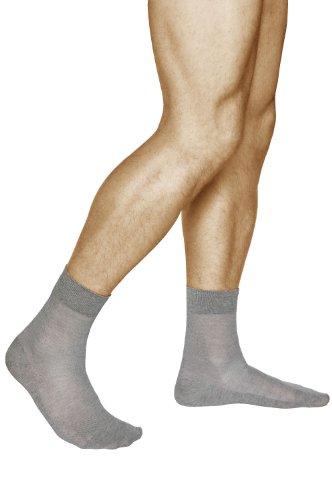 vitsocks LEINEN-Baumwolle Socken Herren extra atmungsaktiv (3x PACK) dünn leicht, grau, 39-41