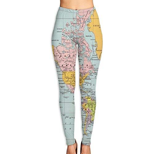 Les Femmes Pantalons De Yoga Pantalons Pantalons Mode Mappemonde Festival Pantalons Casual Vintage De La Mode Femmes Élastique Séance D'Entraînement En Cours Leggings ( Color : Colour , One Size : S )