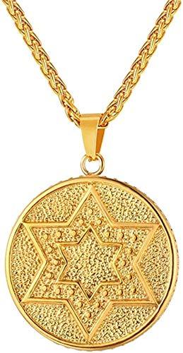 banbeitaotao Collar Magen Estrella de David Colgante de Acero Inoxidable Judaica Collar de Color Dorado/Negro Mujeres judías Isreal Hombres joyería