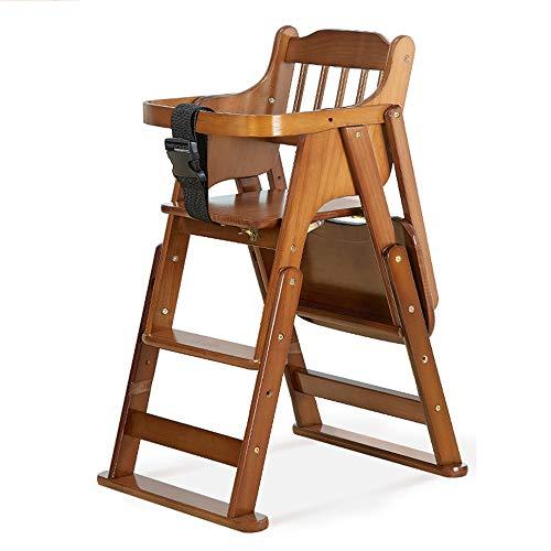 Kinderhochstuhl Klappbarer Baby Esszimmerstuhl Massivem Holz - HöHenverstellbar Mit Sicherheitsgurt