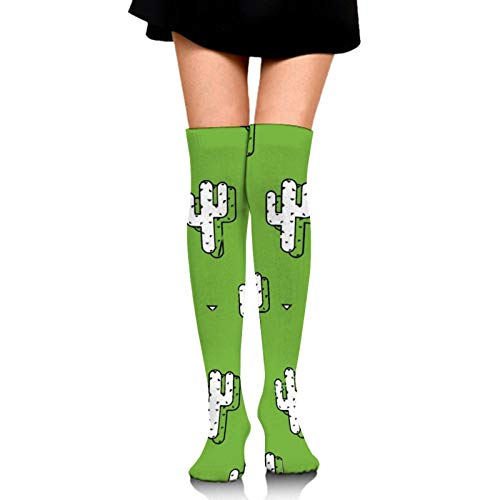 Girls Women Crew Dress Socks Quick Dry/Moisture Control Athletic Socks, Cotton Compression Sock for Outdoor Skiing Football, Over Knee Cactus Painting Green Pattern Novelty Socks