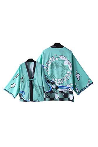 SETHOUS Tanjirou Traje de cosplay Demonio Slayer Traje Kimono Kamado Tanjirou Capa Albornoz Nezuko Pijamas Cardigan Chaqueta