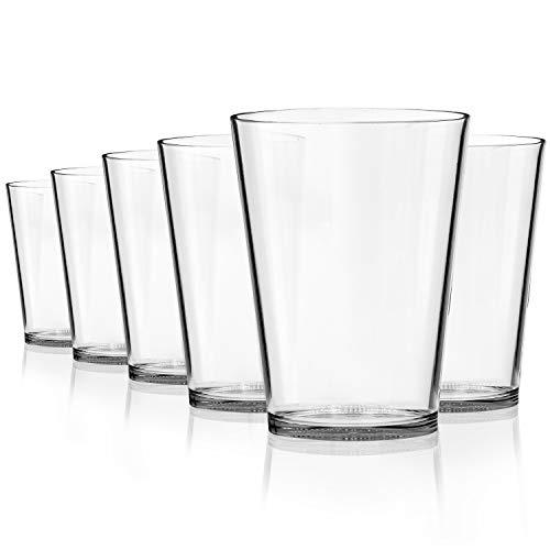 SCANDINOVIA - 26 oz Unbreakable Premium Classic Drinking Glasses Tumbler - Set of 6 - Tritan Plastic Cups - BPA Free - Dishwasher Safe