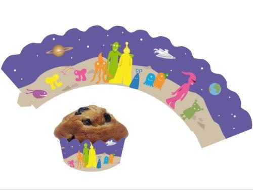 DH-Konzept 12 Weltraum / Alien - Cupcake Deko Banderolen Muffinförmchen Muffin Förmchen Kindergeburtstag Geburtstag Party Kuchen Ausserirdische UFO