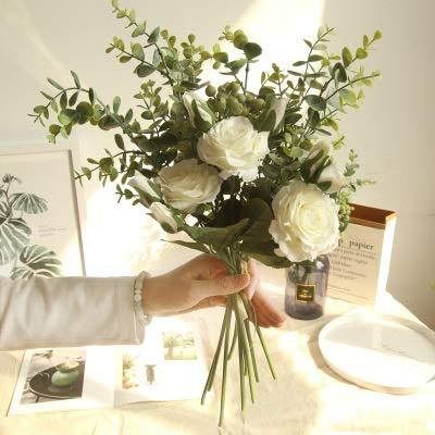 JSJJARD Künstliche Blumen Eucalyptus Kunstblumen Blumen Wand gefälschter Strauß Dekoration Tisch Partydekoration gefälschte Blume Rose Bouquet (Color : Brown)