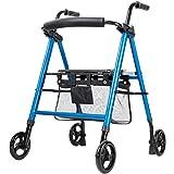 YHRJ Andador Caminante para Ancianos,Carro Multifuncional con Asiento,Soporte Auxiliar de 4 Ruedas,Altura Regulable,Plegable,Puede soportar 136 kg (Color : Blue, Size : 57 * 65 * 80-97cm)