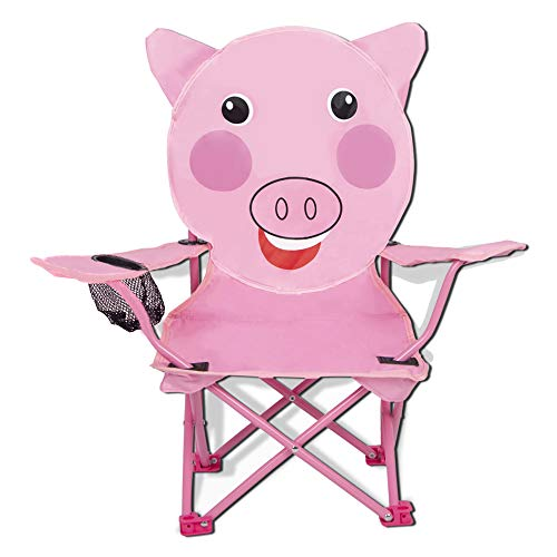 Elnsivo Kids Camping Chair Outdoor FoldingBeach Chair for Boys Girls Lawn Camp Chair, Pig- Pink