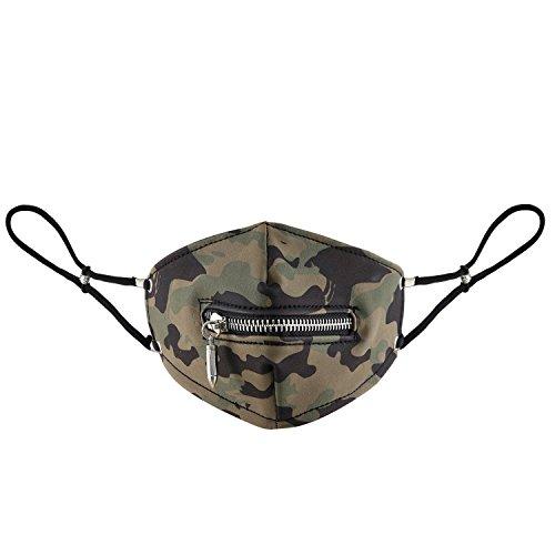 JewelryWe La Máscara del Pasamontañas, Estilo Gótico, Diseño de Camuflaje, con Cierre de Cremallera, Unisex, de Piel, Protección de 90% del Polvo y la Niebla