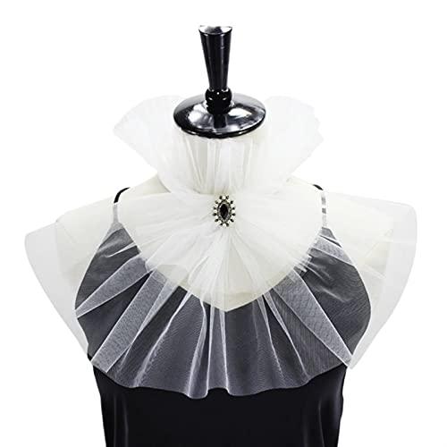 XHBL Net Mesh Stand Stand Fake Collar Cuello Arrugado Ruffle Lazo (Color : White)