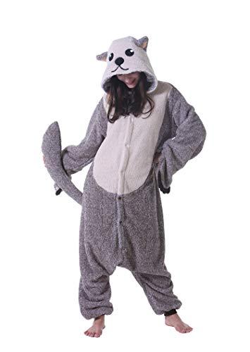 Jumpsuit Onesie Tier Karton Fasching Halloween Kostüm Sleepsuit Cosplay Overall Pyjama Schlafanzug Erwachsene Unisex Lounge Kigurumi,L(168-177CM),Seeotter