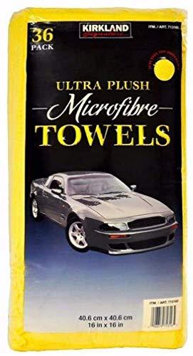 Kirkland Signature Ultra High Pile Premium Microfiber Towels, 36 Count (Pack of 1), Yellow - 713160, New