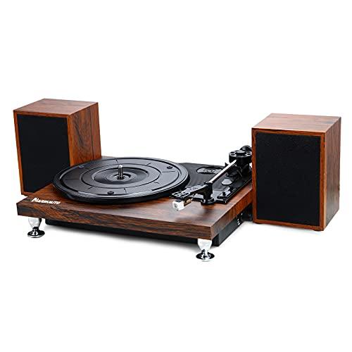 NAVISKAUTO Plattenspieler Schallplattenspieler Bluetooth mit Externe Lautsprecher Riemenantrieb Vinyl Plattenspieler Turntable 33⅓,45,78 U/min