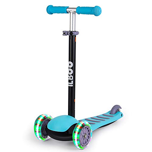 Maydolly Kids 3 Wheel Kick Scooter - Lean to Steer - Foldable & Height Adjustable - Flashing LED Lights age 3 plus Blue