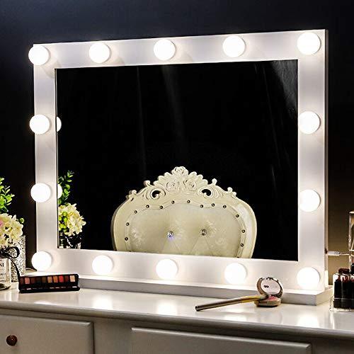 Chende Professionelle Schminkspiegel mit Licht, Hollywood Spiegel mit Beleuchtung Wandmontage, Groß Beleuchteter LED Kosmetikspiegel mit 3 Farbumbauten für Schminktisch (Reines Weiß)