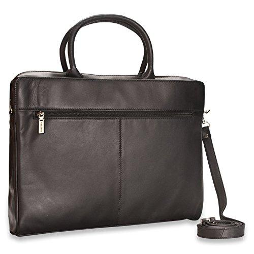 New ladies Visconti black leather briefcase laptop bag RFID blocking 18427