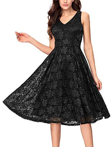 Noctflos Lace V Neck Fit & Flare Midi Cocktail Dress for Women Party Wedding (Medium, Black)
