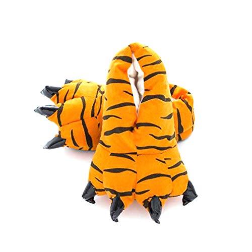 1pair Kreative Tiertatzen-Slippers Stofftier Schuhe weicher Plüsch Klaue Hauspantoffeln Tierhausschuhe für Kinder Größe 30~34, Tiger