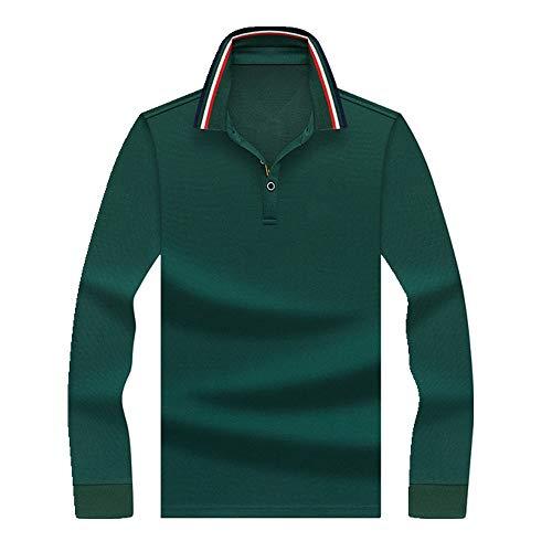 N\P Polo de manga larga para hombre y jóvenes, de algodón, para el tiempo libre. verde XXL