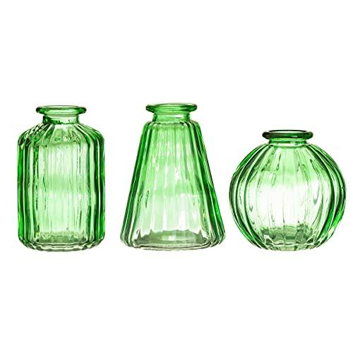 Sass & Belle Lot de 3 vases en verre vert