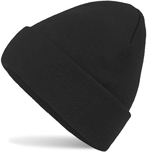 Hatsatar Unisex warme Beanie Strickmütze | Wintermütze für Damen & Herren | Feinstrick Mütze doppelt gestrickt | warm & weich (schwarz)