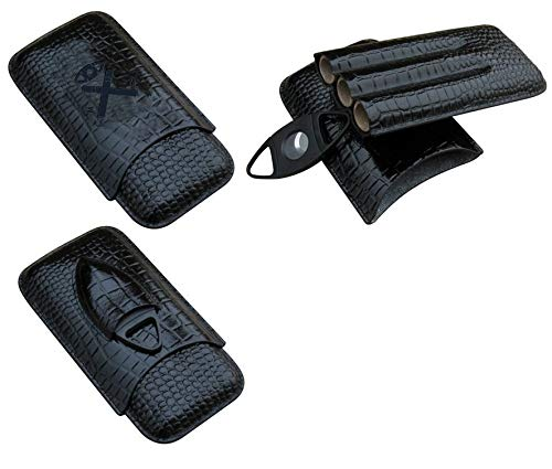 Classy Black Crocodile Pattern Leather Cigar Holder Travel Case - Black Stainless Steel Cigar Cutter Included - Perfect Set for Any Cigar Lover - Holds 3 Cigars
