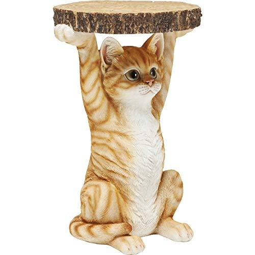 Kare Design Beistelltisch Animal Ms Cat, Ø33cm, kleiner, runder Katzen Couchtisch, Holzoptik, Tierfigur als ausgefallener Wohnzimmertisch (H/B/T) 52x35x33cm