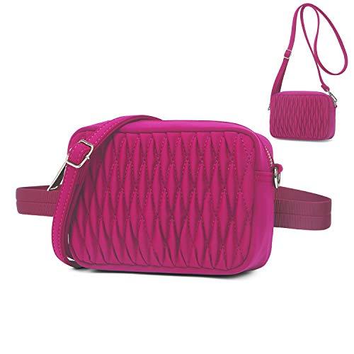 Wind Took Mode Umhängetasche Bauchtasche 2 in 1 Damen Klein Tasche Gürteltasche Schultertasche Handtasche für Reisen Partys Sports Rose