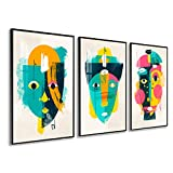 DekoArte - Cuadros Decoración | Moderno Sofisticado con Marco en PVC | Trípticos Decorativos Para Salón o Dormitorio | Póster con acrilico 0'5mm| Nordico, Abstracto, Picasso | 3 piezas 150x70 cm