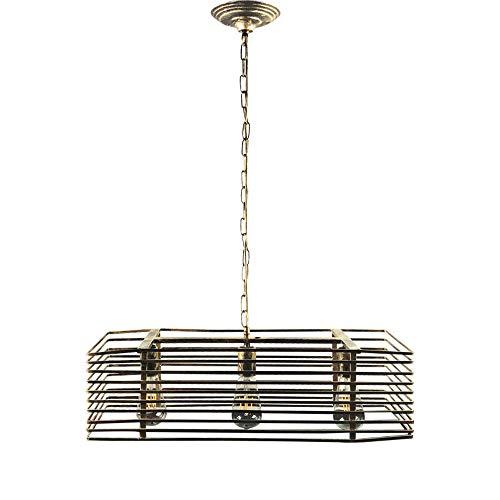 Lustres en fer vintage, 3 lumières industrielles éclairage LED éclairage décoratif bar plafonniers Village Antique table à manger étude balcon pendentif lumière (Design : A)